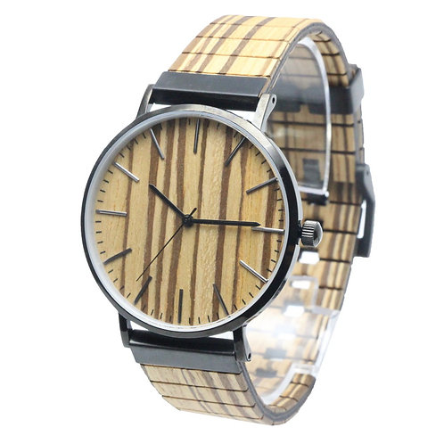 customized logo wood watches stainless steel case wood dial quartz