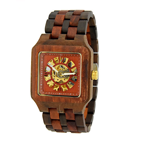 New Men's Skeleton Watches wood Luxury Wooden Mechanical Watch