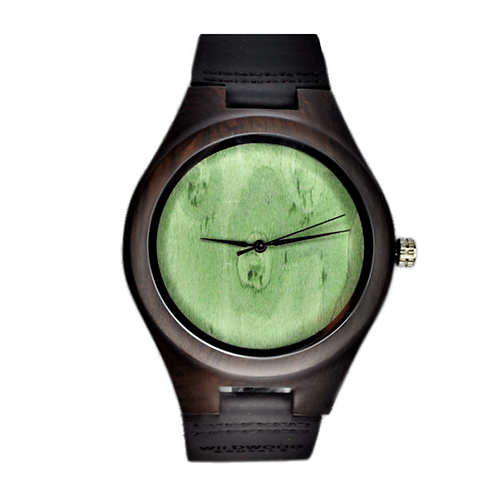 NEW Green Style Wooden Wristwatch Black Wood Men Leather Watch