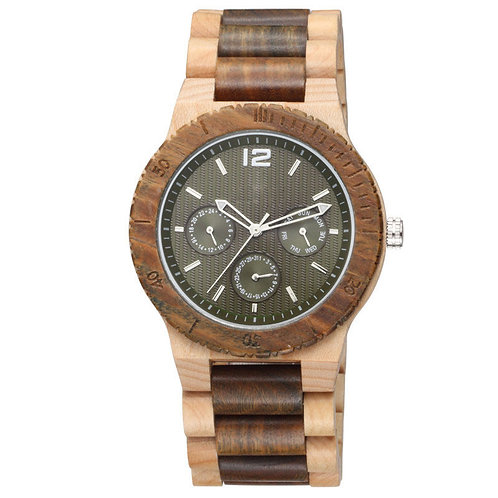 Walnut Wood Watches Wholesale Chronograph Multiple Function Walnut Watch for Men