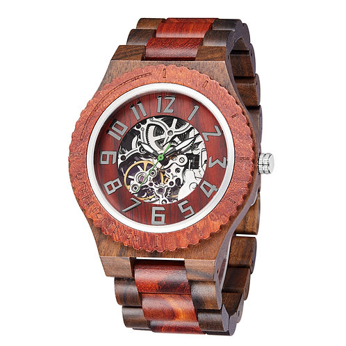 New Red wood Sandalwood Automatic wristwatch,wooden watch from EcVendor