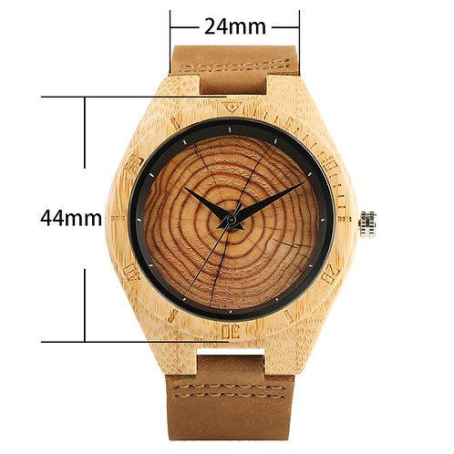 Men Women Wood Grain Genuine Leather Wristband Clasp Wristwatch