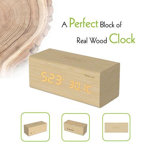 NEW  Wood BALDR LCD Clock with Temperature calendar Alarm Clock