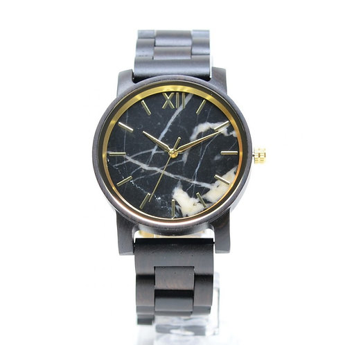 Ebony Black Marble Watch Men Stone Wristwatch from EcVendor