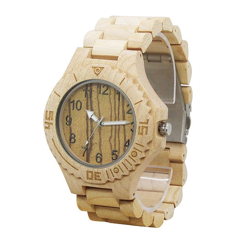 Men Fashion Wooden Watch Casual maple Wood Quartz Watch from EcVendor