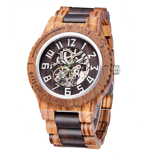New Zebra Sandalwood Automatic wristwatch Mechanical wooden watch from EcVendor