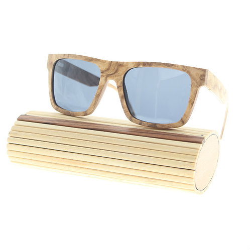 Olive Wood Mixed Maple Unisex Natural Wooden Sunglass from EcVendor