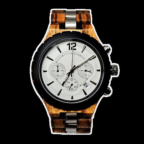 New Chronograph EcVendor Stainless Steel Wood Wristwatch Men Watch