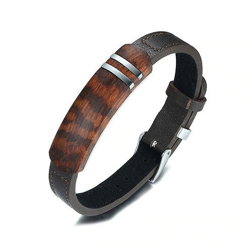 Brown Leather Charm Bracelets Men Rosewood Plaque Bracelet Stainless Steel