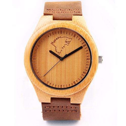 Wholesale 10pcs of Male Wood Gift Handmade Bamboo Watch Wolf Design