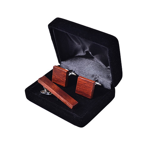 wooden Suit cufflinks tie clip whole set selling With Gift 3 in 1 set