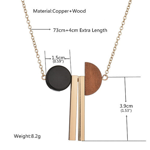 wholesale 10pcs women's half round wood copper long strip Pendant