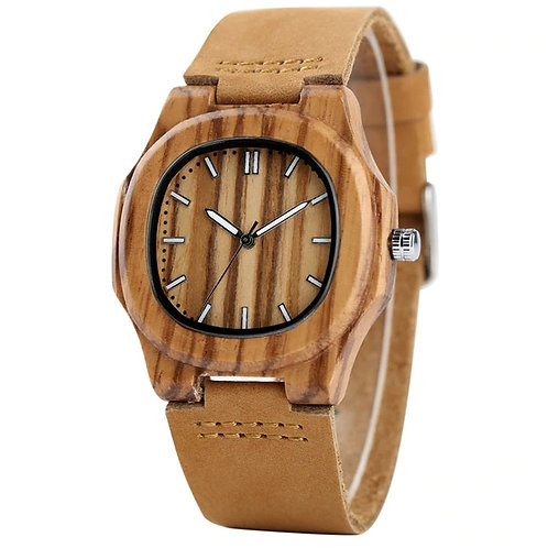 New Bamboo Wooden Watch Men Unique Design Genuine Leather Band Modern Quartz