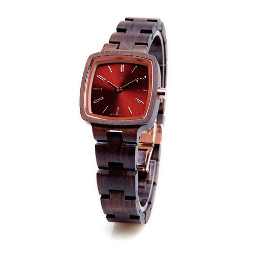 Black Red Square Shape Wood Lady Natural Wooden Watch from EcVendor