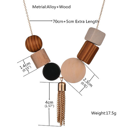 wholesale 10pcs women's simple geometry wooden pendant fresh Long Necklace