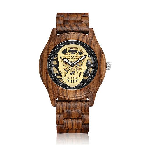Hollow Skull Head  Wood Mechanical Wrist Watch from EcVendor