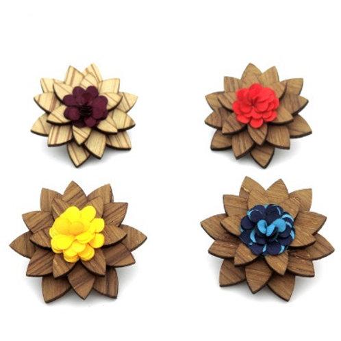 Handmade Wooden Prom Flower Boutonniere Brooch Lapel Pin Jewelry Pin