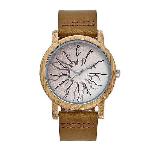 Bamboo Wooden Watch  Wood Quartz Watch Leather band EcVendor unisex bamboo watch