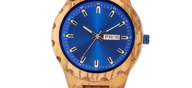 new blue face olive wood wooden watch wood men wristwatch EcVendor