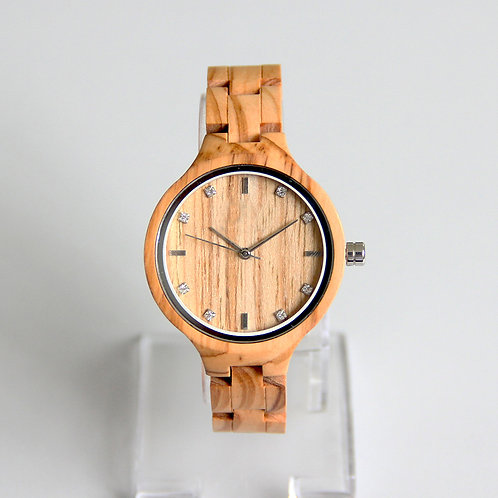 New Quartz EcVendor Olivewood Lady Wristwatch Wood Diamond Watch