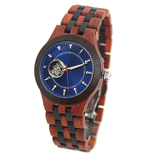 New Mechanical Round Blue Men's Skeleton Watch Big face wood Luxury Watch