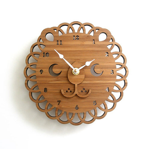 New Lion Bamboo Wood Wall Clock EcVendor