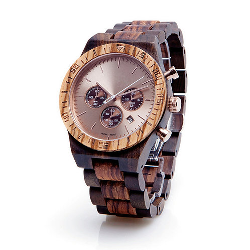 New Zebrawood Wooden Wristwatch Chronograph Wood Watch by EcVendor