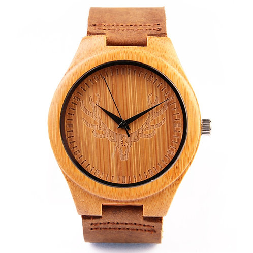 Deer Head engraved Bamboo Wood Unisex Watch