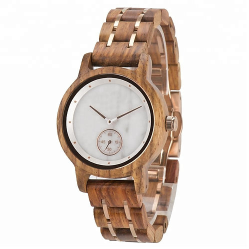 Stainless Steel Band Marble Dial Wooden Watch from EcVendor