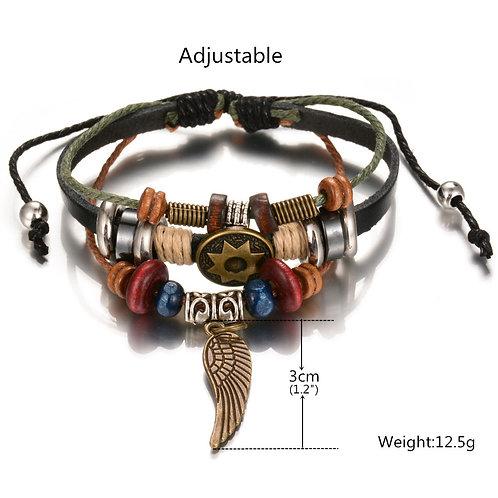 wholesale 10pcs Punk retro alloy wings, leather bracelets, colored wood beads