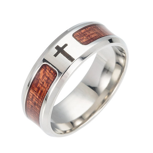 New Unisex Classic Wedding Fashion Cross  Wood Koa Ring MOQ 10PCS