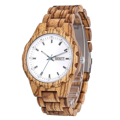 new minimalist zebra wooden watch wood men wristwatch EcVendor