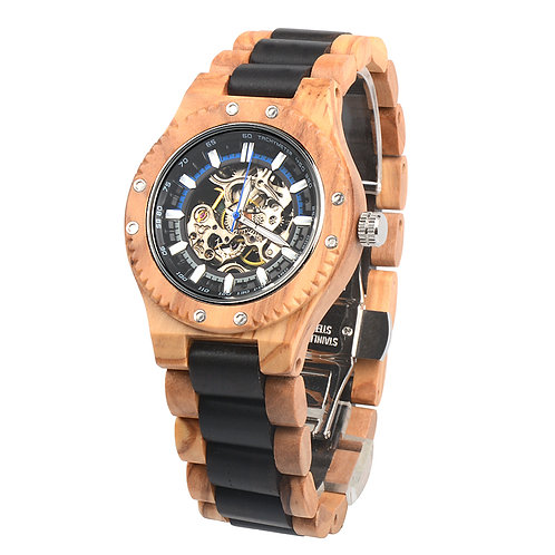 10pcs New Mechanical Round Men's Skeleton Watch Big face wood Watch Wholesale