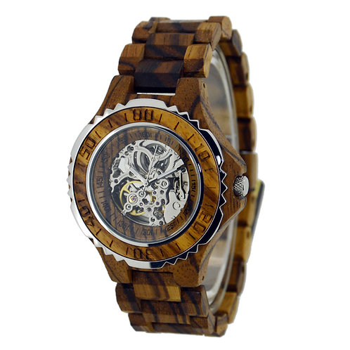 New Men Automatic Wood Watch Mechanical Design Wooden Watch from EcVendor