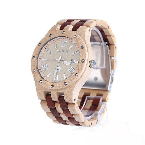 Big Size Wooden Watch Casual Wood Quartz Watch wood band week calandar Men Watch