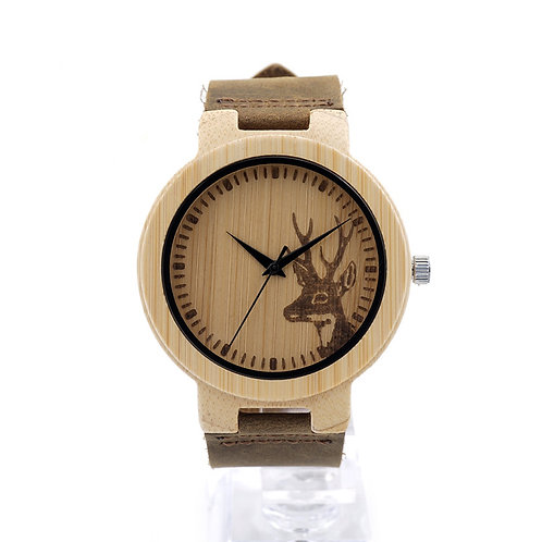 Deer Head Bamboo Wooden Watch Casual Wood Quartz Leather band EcVendor