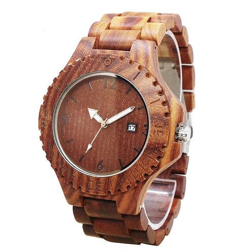 Wholesale Men Big Face Red Sandalwood Wooden Casual Wood Quartz Watch 10pcs