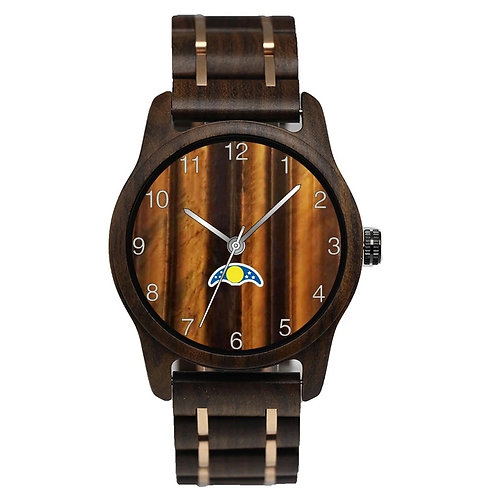 Wood watches with stainless steel strap marble dial Japan quartz EcVendor