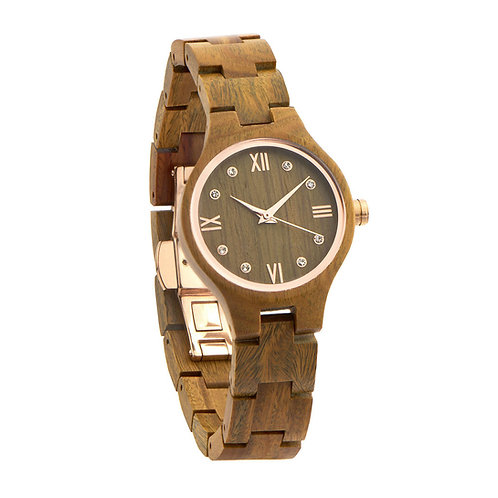 Rome Lady Olive Wood Watch Women Wear with Diamonds from EcVendor