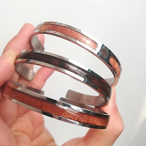 New woodgrained ring style bracelet fashion unisex wood bracelets