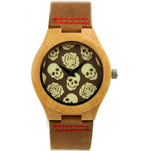 10pcs of Skull Rose Bamboo Wood Men Women Watch Gift