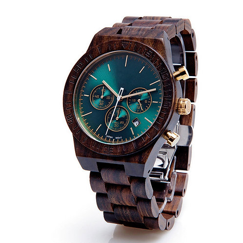 Sandalwood Wooden Wristwatch Chronograph Wood Watch by EcVendor