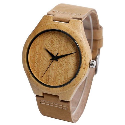Carbonized Bamboo Case Custom Men's Leather Watches Wholesale from EcVendor