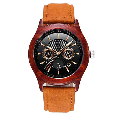 Men big size wooden chronograph watch, real wood wristwatch