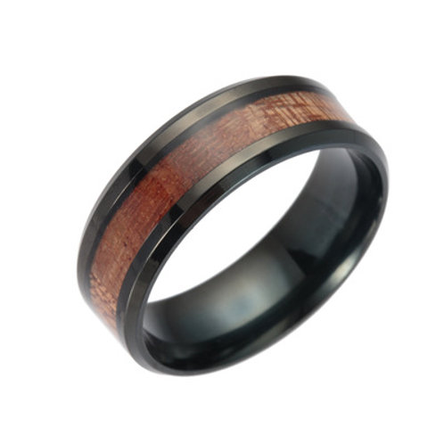 New Unisex Classic Wedding Fashion Black Wood Koa Ring MOQ 10PCS