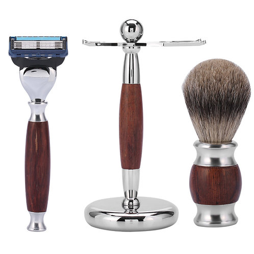 Wood Handle Shaving Brush Safety Razor Metal Beard Shaver Stand from EcVendor