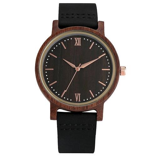 Relejo Hombre Rose Gold Analog Dial Ebony Wood Watches Men Women Quartz Watch