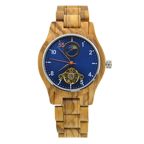 Olive Wood Unisex Natural Wooden Automatic Watch from EcVendor