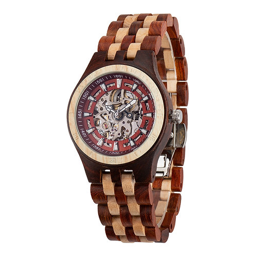 New Men maple mixed red sandalwood Automatic Watch100% Handicrafted Natural Wood