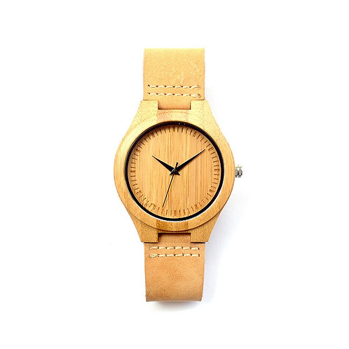 Unisex New Style Leather Bamboo Watch from EcVendor